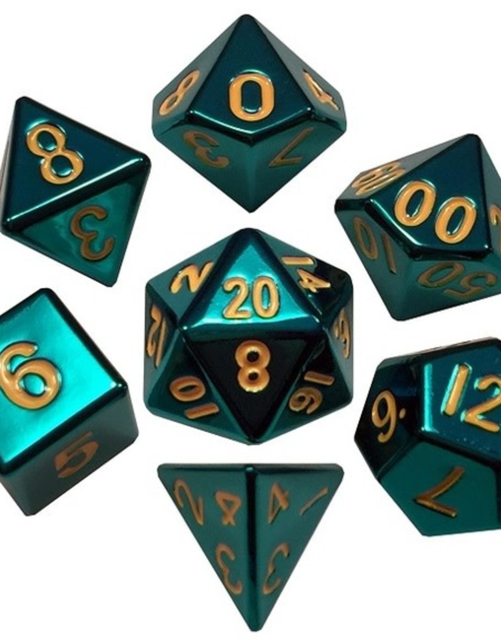 Metallic Dice Games Poly Metal Dice Set Turquoise