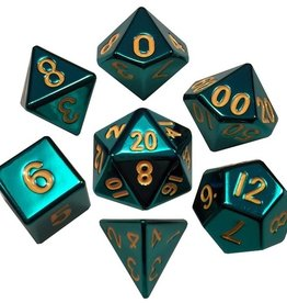 Metallic Dice Games Poly Metal Dice Set Turquoise
