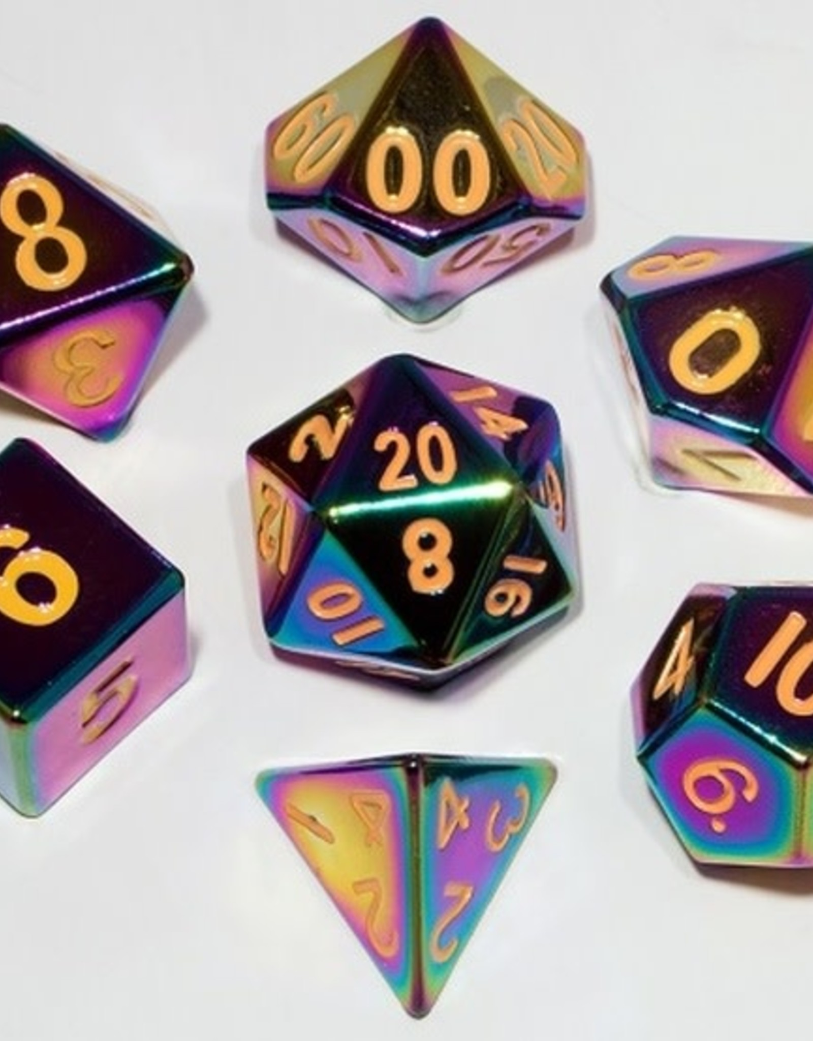 Metallic Dice Games Poly Metal Dice Flame Torched Rainbow
