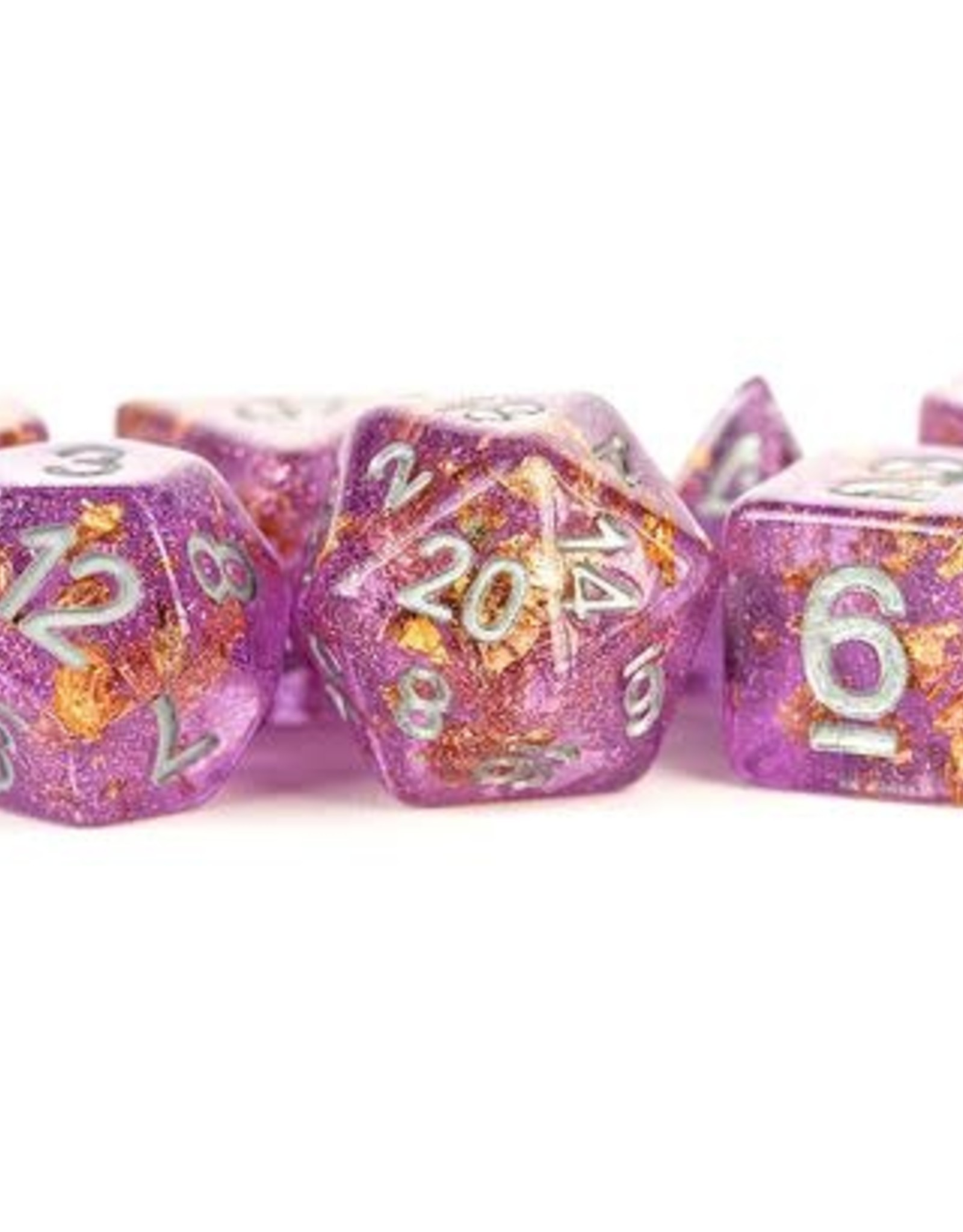Metallic Dice Games Poly Set Dice Purple w/ Gold Foil