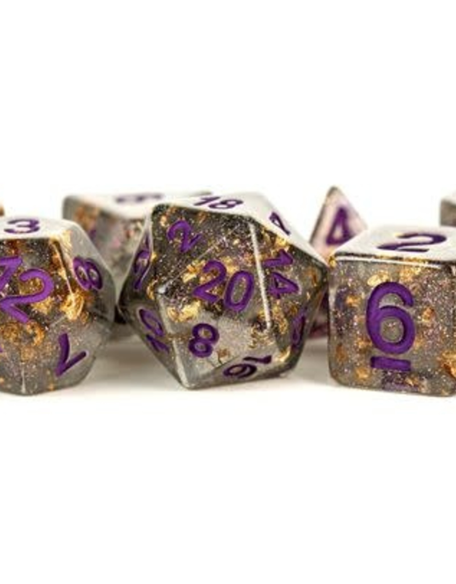 Metallic Dice Games Poly Set Dice Gray w/ Gold Foil and Purple Numbers