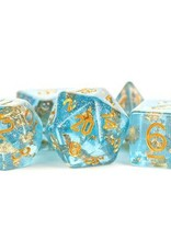 Metallic Dice Games Poly Dice Set Blue w/ Gold Foil