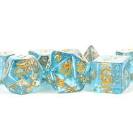Metallic Dice Games Poly Dice Set Blue w/ Gold Foil