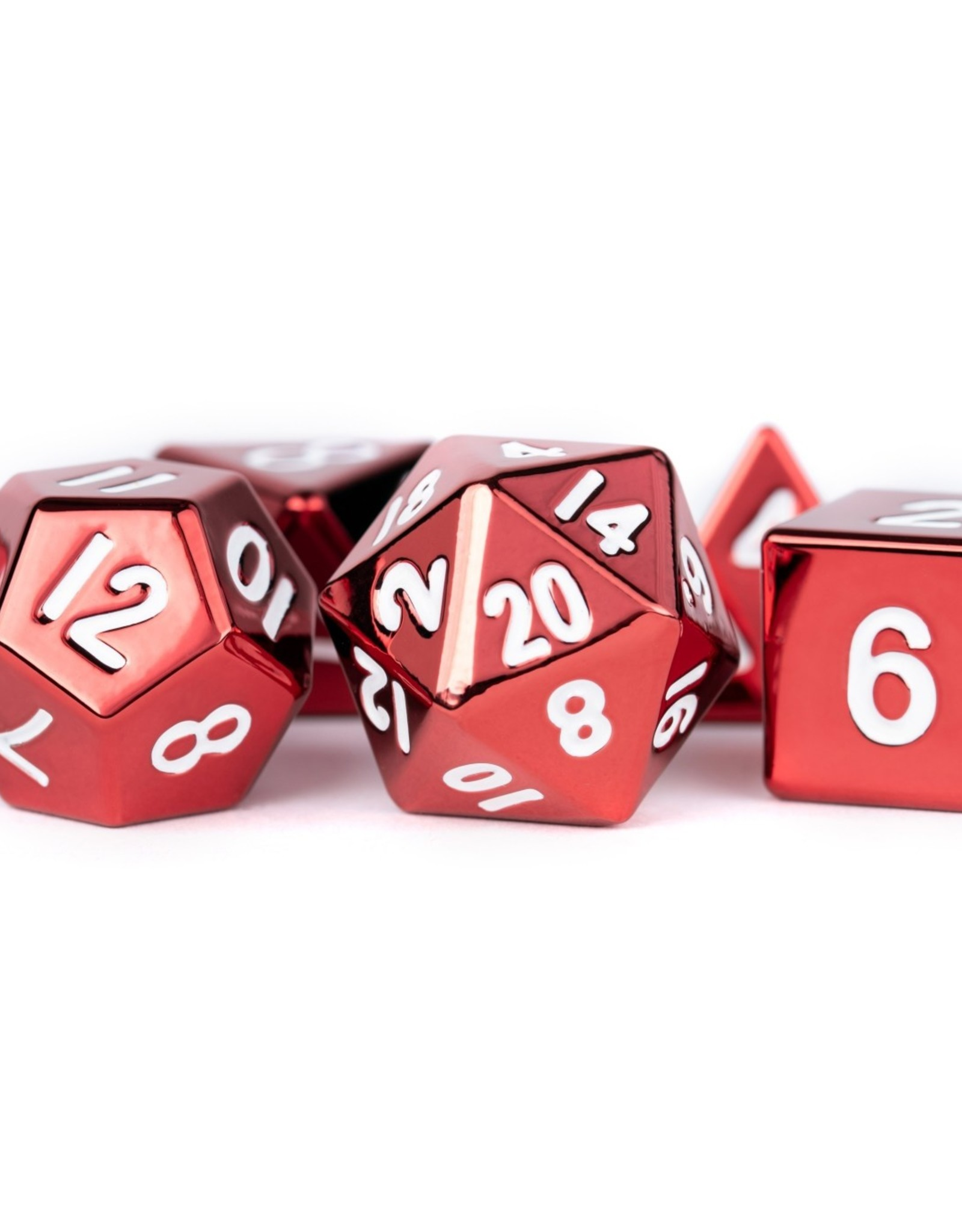 Metallic Dice Games Poly Metal Dice Set Red