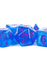 Metallic Dice Games Poly Set Stardust: Blue w/ Purple Numbers