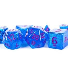 Metallic Dice Games Poly Set Stardust: Blue w/ Purple Numbers