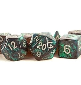 Metallic Dice Games Poly Set Stardust: Gray w/ Silver Numbers