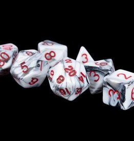 Metallic Dice Games Poly Dice Set Acrylic Marble w/ Red