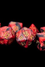 Metallic Dice Games Poly Dice Set Black and Red Marble w/ Gold