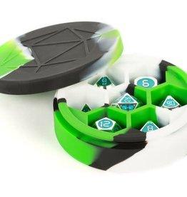 Metallic Dice Games Silicone Round Dice Case Green/Black/White