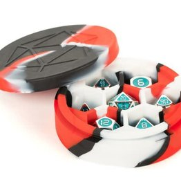 Metallic Dice Games Silicone Round Dice Case Red/Black/White