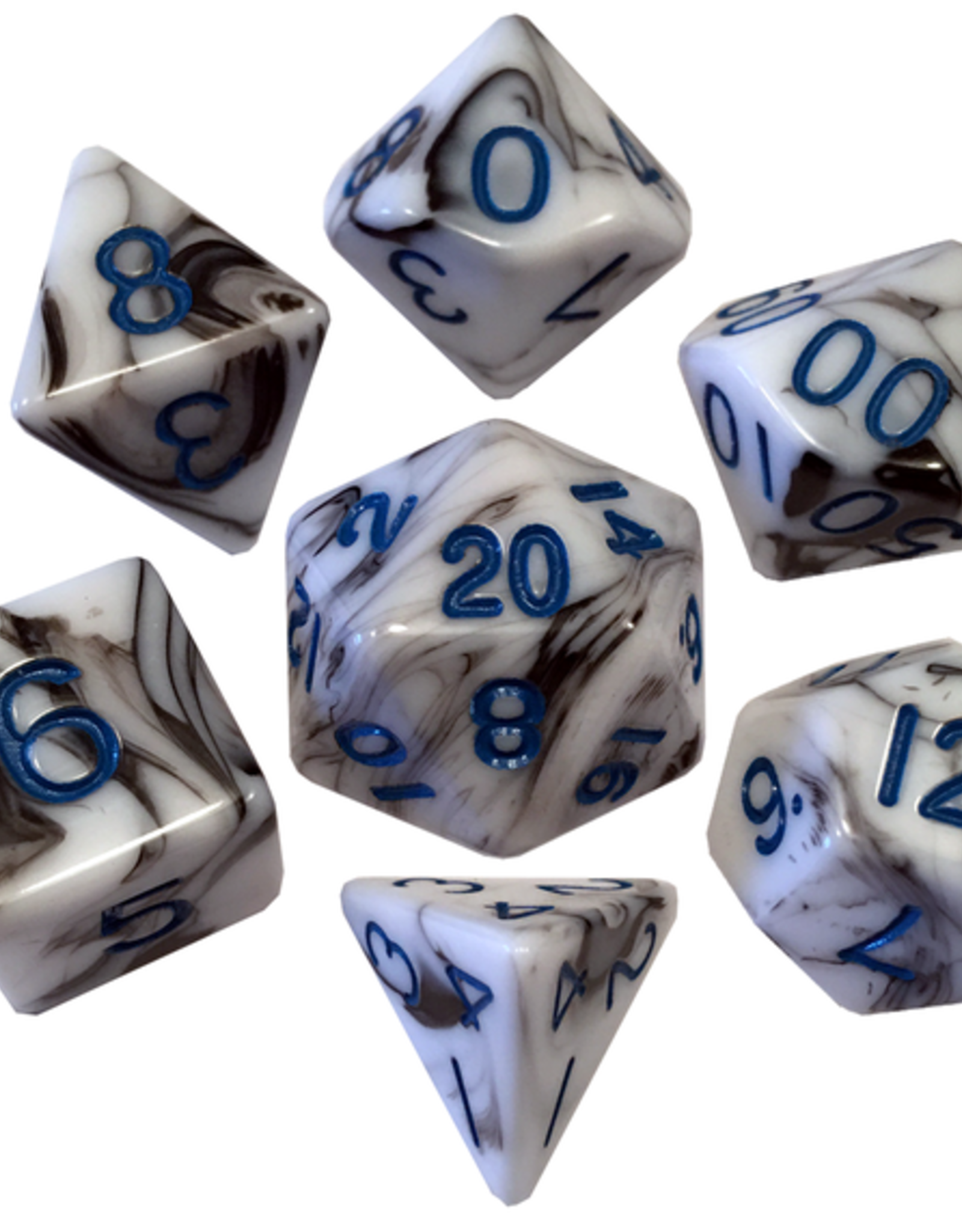 Metallic Dice Games Poly Dice Set Marble w/ Blue