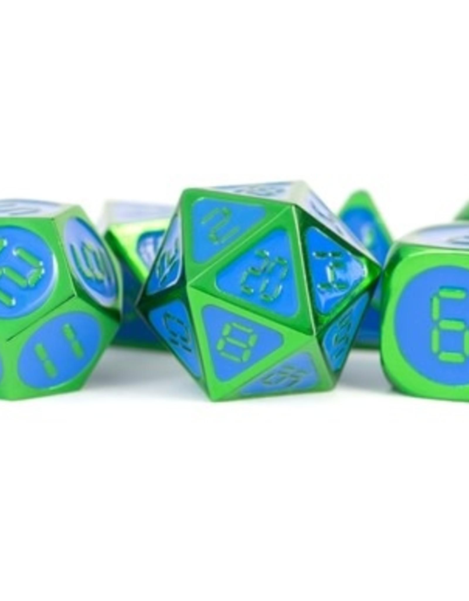 Metallic Dice Games Poly Dice Set Digital Green w/ Blue Enamel