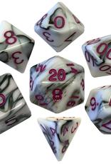 Metallic Dice Games Poly Dice Set Marble w/ Purple