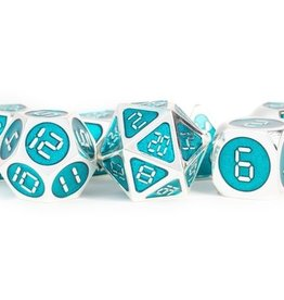 Metallic Dice Games Poly Metal Dice Digital Silver w/ Teal Enamel