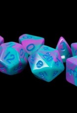 Metallic Dice Games Poly Dice Set Purple-Teal w/ Blue