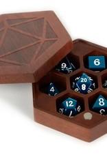 Metallic Dice Games Purple Heart Wood Hex Dice Case