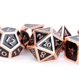 Metallic Dice Games Poly Metal Dice Set Copper w/ Black Enamel