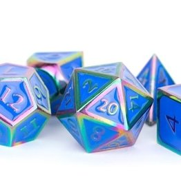 Metallic Dice Games Poly Metal Dice Set Rainbow w/ Blue Enamel