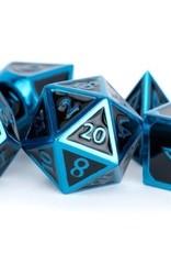Metallic Dice Games Poly Metal Dice Set Blue w/ Black Enamel