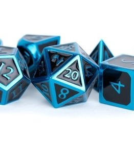 Metallic Dice Games Poly Metal Dice Set Blue w/ Black Enamel