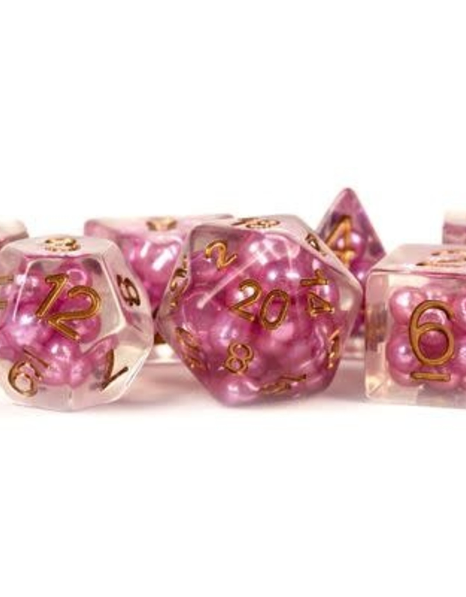 Metallic Dice Games Poly Dice Set Pearl: Pink w/ Copper