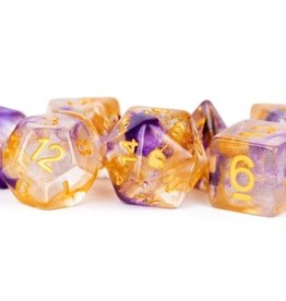 Metallic Dice Games Poly Dice Set Unicorn: Royal Sunset