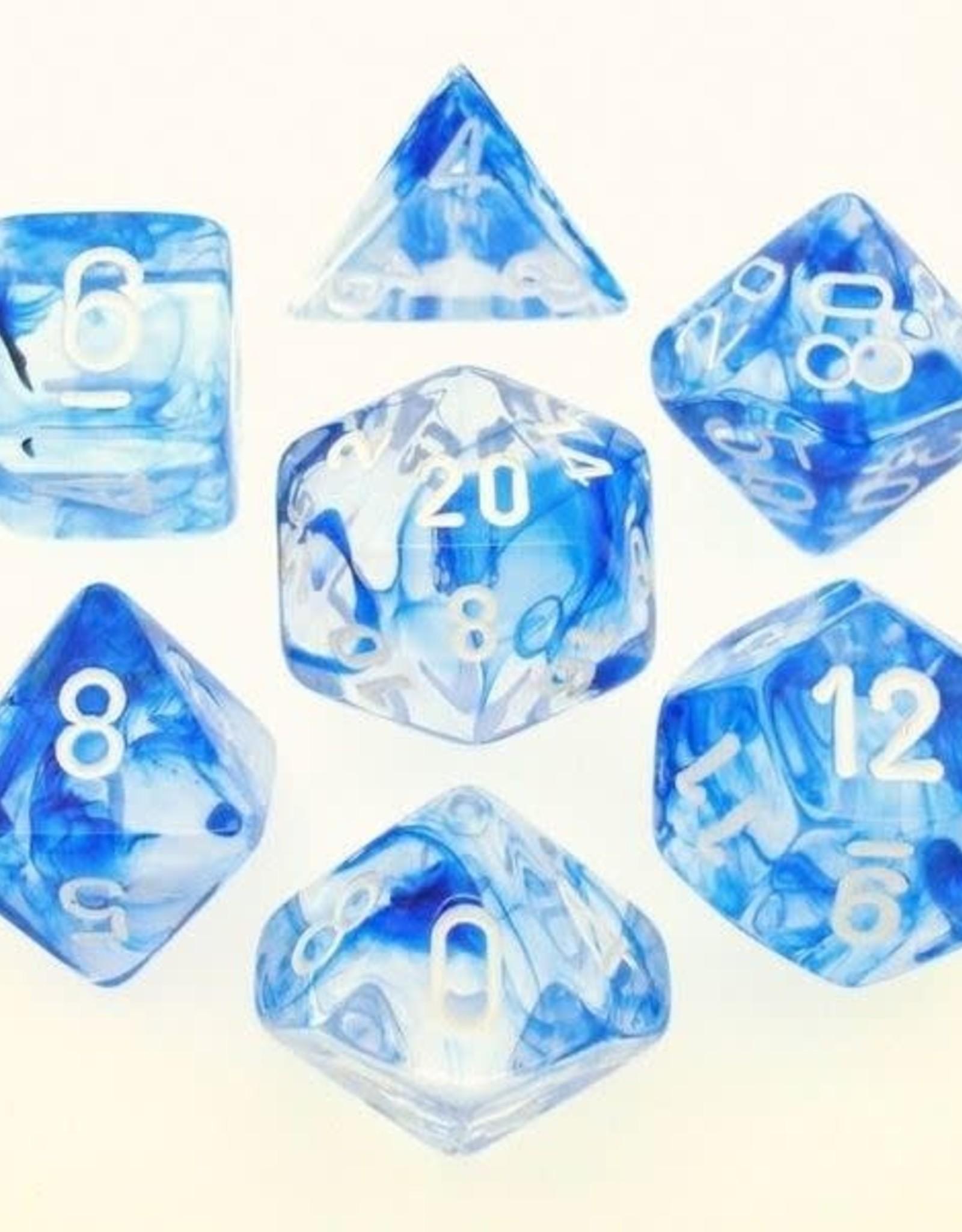 Chessex Poly Dice Set Nebula Dark Blue w/ White