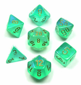Chessex Poly Dice Set Borealis Light Green w/ Gold
