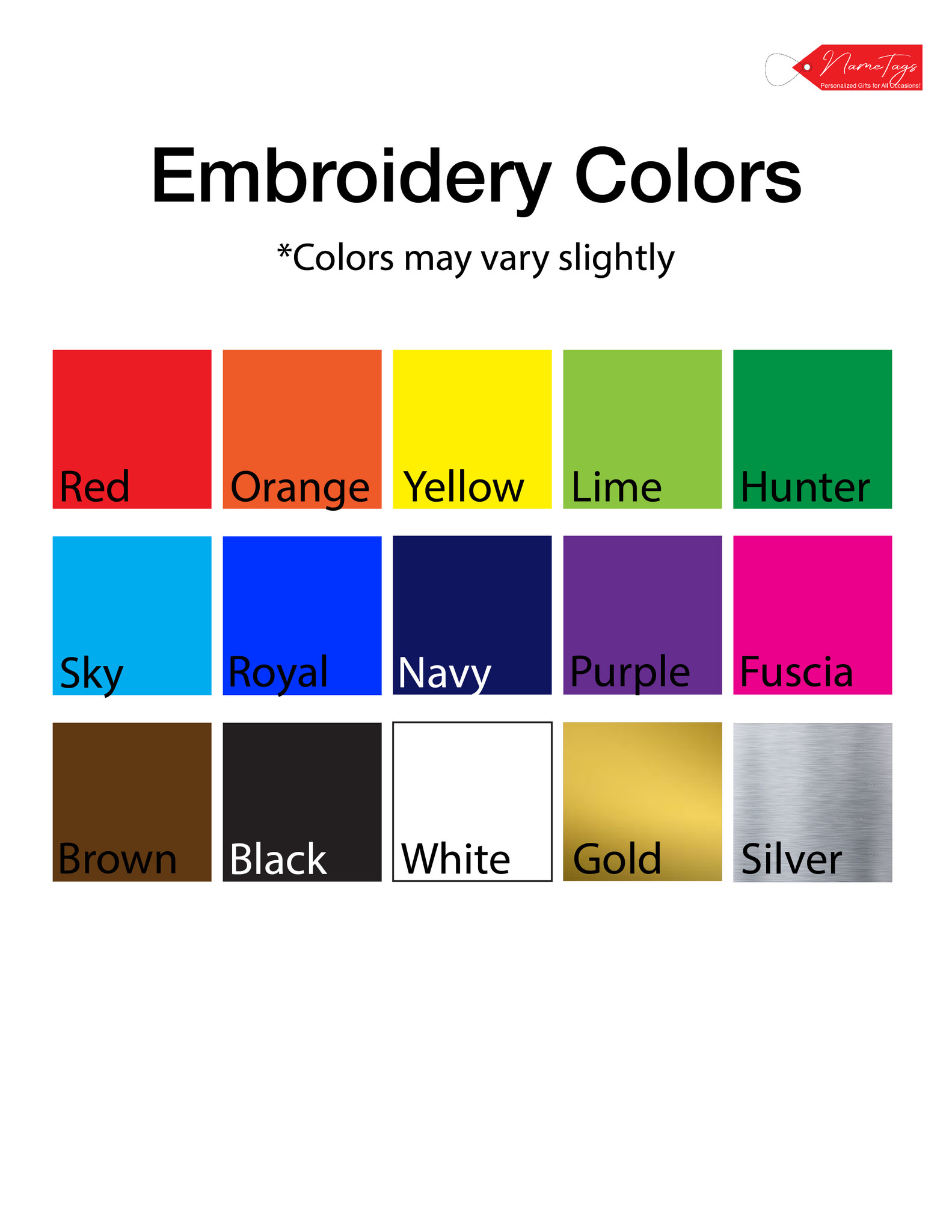 Embroidery Colors