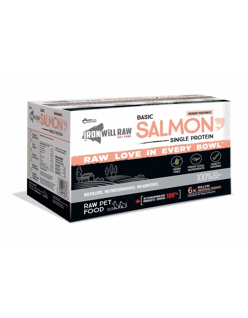 IRON WILL RAW BASIC SALMON 6LB BOX (6 x 1LB)