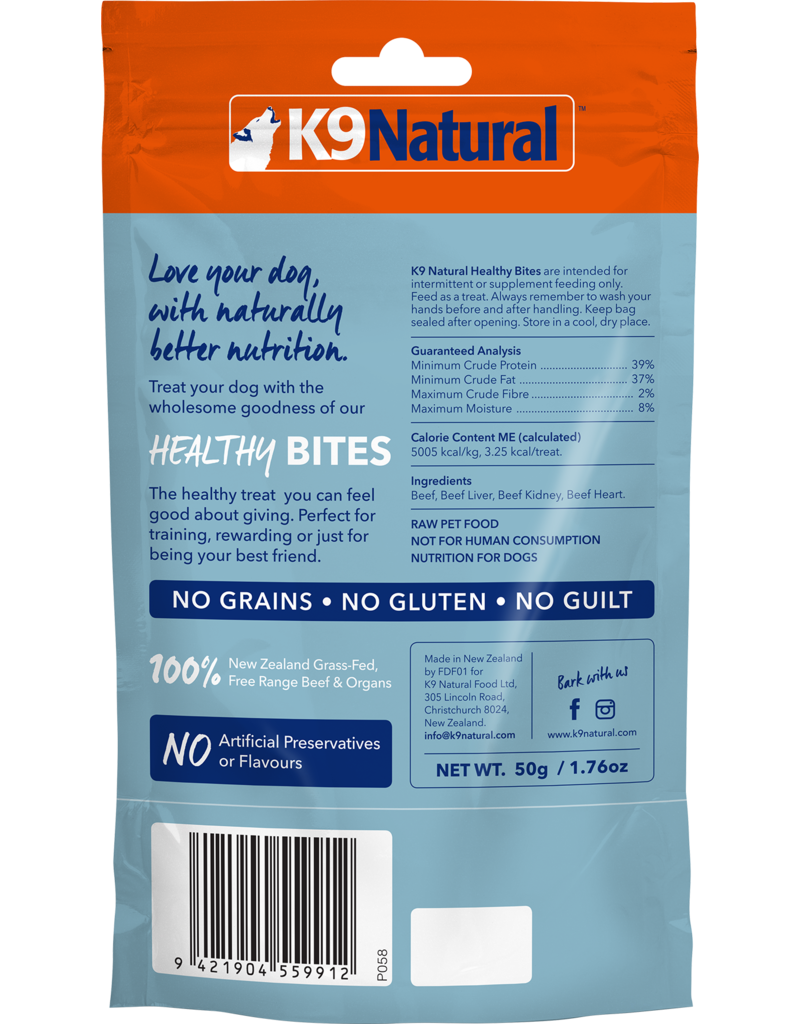 K9 NATURAL BEEF HEALTHY BITES 50G