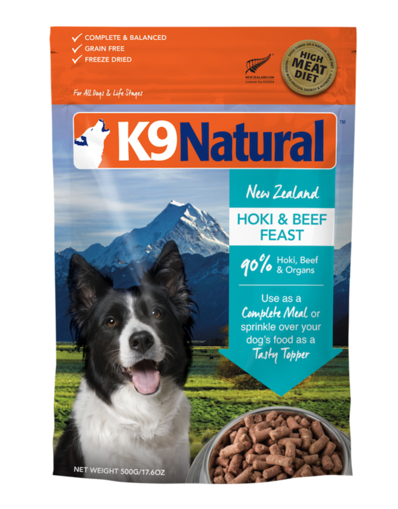 K9 NATURAL HOKI & BEEF FEAST 500G