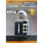 Axiom 30 MM 3 Dial Hard Shackle Luggage Lock, Black