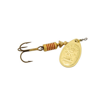 Mepps 1/4 oz. Mepps Aglia Plain - size 3 gold blade and a plain treble hook.