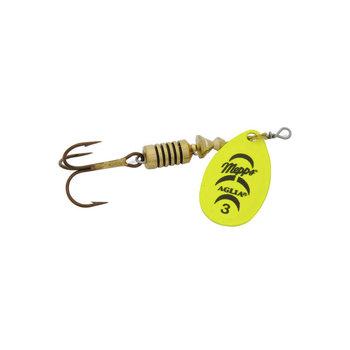 Mepps 1/4 oz. Mepps Aglia Plain - size 3 hot chartreuse blade and a plain treble hook.