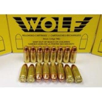 Wolf Remanufactured Handgun Ammo 9mm 124gr Wolf Brass Total Metal Jacket 50 Rounds