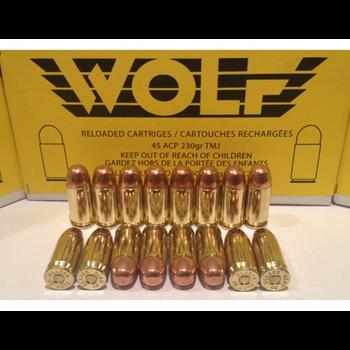 Wolf Remanufactured Handgun Ammo 45 ACP 230gr Wolf Brass Round Nose Plated 50 Rounds