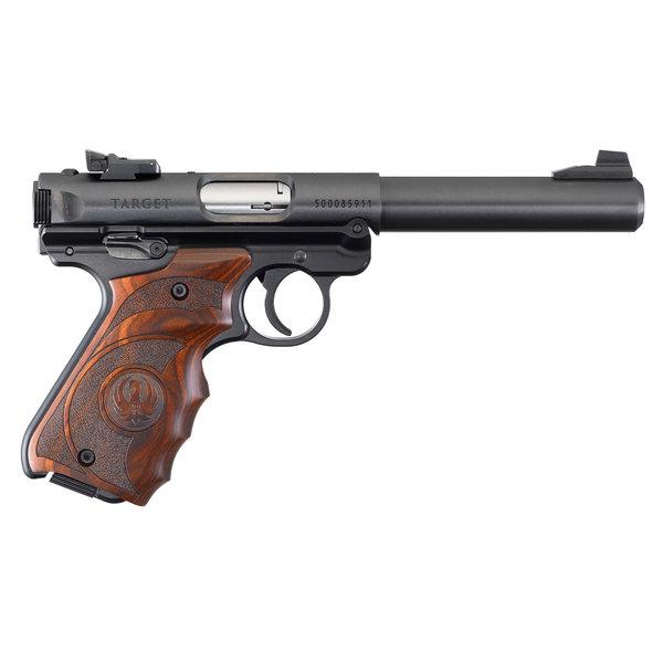 """Ruger Model Mark IV Target Semi-Auto Pistol, 22LR, 5.5"""" BBL, Blued, Target Laminate Grips, 10 Rnd, Adjustable Rear Sight"""