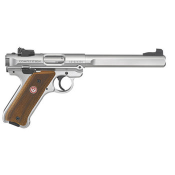 "Ruger Model Mark IV Competition Semi-Auto Pistol, 22 LR, 6.88"" Slab-Side Bull Bbl, Stainless Steel, Loaminated Grips, 2 10-Rnd Mags"