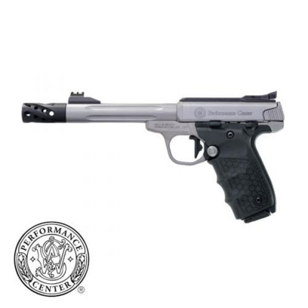 """Smith & Wesson 12078 SW22 Victory Pistol 22LR Fluted 6"""" BBL Muzzle Brake, Target Model 2-10 rd Stainless Fiber Optic Sights PC"""