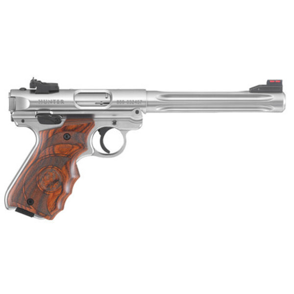 "Ruger Model Mark IV Hunter Semi-Auto Pistol, 22LR, 6.88"" Bbl, Stainless, Target Laminate Grips, 10 Rnd, Adjustable Rear Sight"