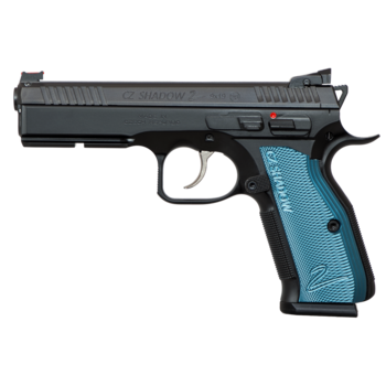 "CZ Model Shadow 2 Semi-Auto 9MM Pistol 4.7"" Bbl Black Steel Frame, Blue Aluminum Grip, 10 Rnd, SA/DA, Adj Sights, Manual Safety"