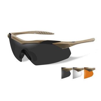 Wiley-X Vapor Grey/Clear/Rust/Tan Frame Shooting Glasses