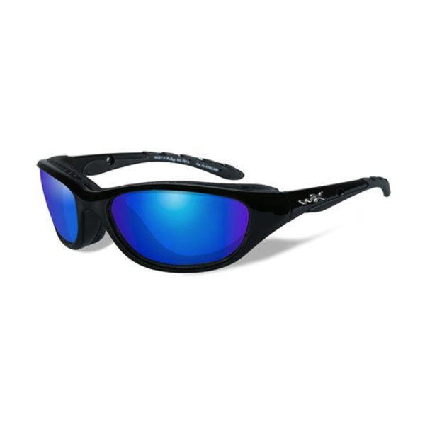 Wiley-X Airrage Polarized Blue Mirror/Gloss Black Frame Glasses