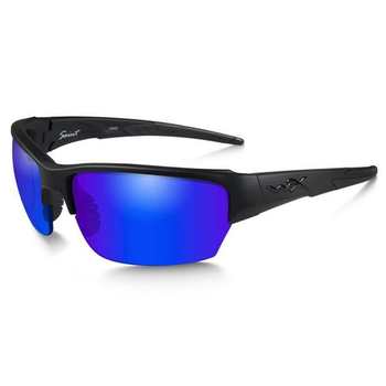Wiley-X Saint Polarized Blue Mirror/Matte Black Frame Shooting Glasses