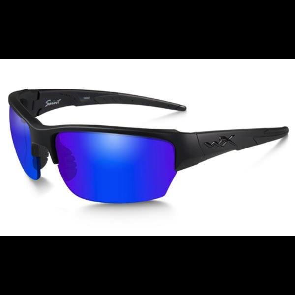 Wiley-X Saint Polarized Blue Mirror/Matte Black Frame Shooting Glasses