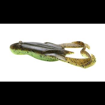 """Keitech Noisy Flapper Frog 3.5"""" Green Pumpkin Chartreuse  5-pk"""