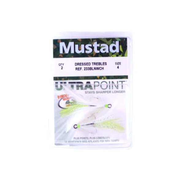 Mustad Feathered Treble Size 6 White/Chartreuse 2-pk