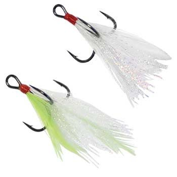 Mustad Feathered Treble Size 2 White 2-pk